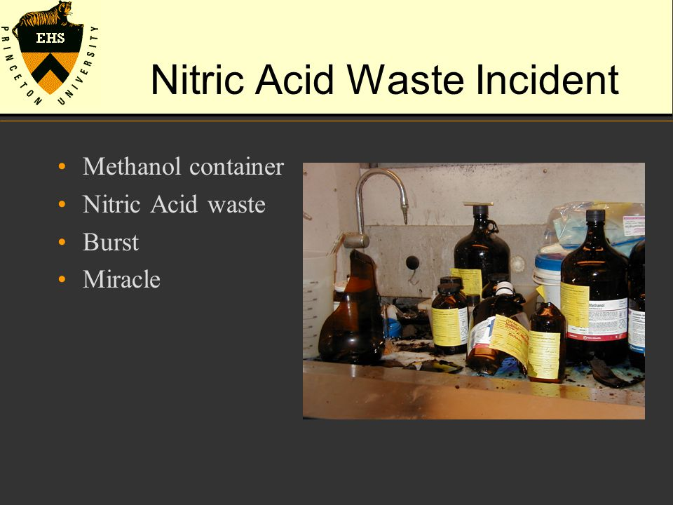 Nitric Acid Waste Incident Methanol container Nitric Acid waste Burst Miracle