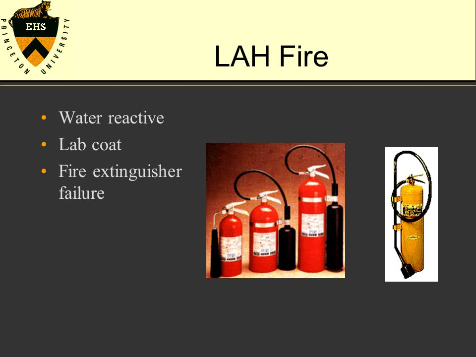 LAH Fire Water reactive Lab coat Fire extinguisher failure