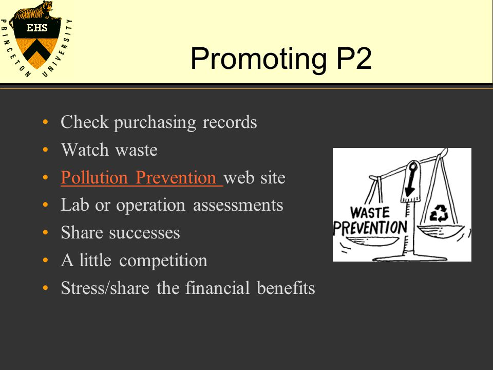 Promoting P2 Check purchasing records Watch waste Pollution Prevention web sitePollution Prevention Lab or operation assessments Share successes A lit