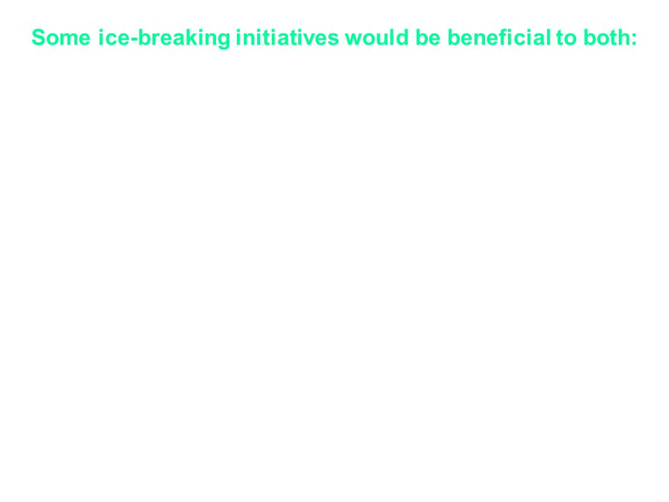 Some ice-breaking initiatives would be beneficial to both: Academia to employ practicing professionals from industry as part-time guest faculty and/or constituting a Research Chair Academia to offer short-term courses for professionals in industry, as this is a safe, inexpensive trial interaction for them Academia to take up specific industry problems Industry to support to basic research for knowledge creation Industry to participate in technology development involving exploratory work Industry to provide summer trainings/project for UG/PG students and research scholars in industry Industry to offer research projects to academia including research fellowships or Post-doctoral fellowships on topics of their interests Industry to encourage their personnel to take up projects in Academia which are of interests to their employers