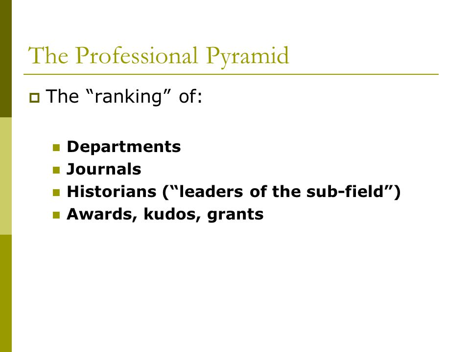 The Professional Pyramid  The ranking of: Departments Journals Historians ( leaders of the sub-field ) Awards, kudos, grants