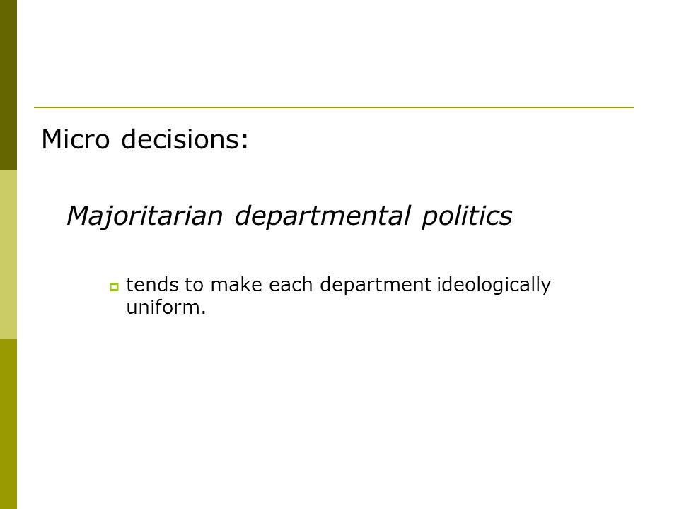 Micro decisions: Majoritarian departmental politics  tends to make each department ideologically uniform.