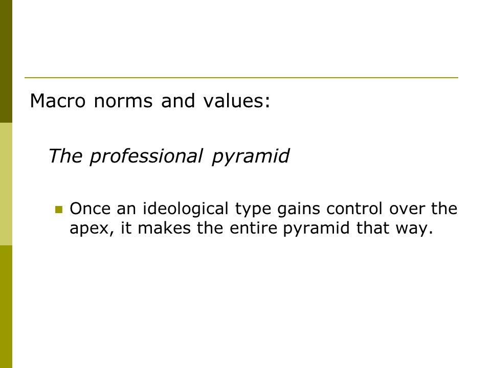 Macro norms and values: The professional pyramid Once an ideological type gains control over the apex, it makes the entire pyramid that way.