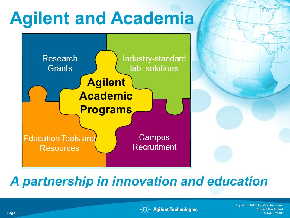 Agilent T&M Education Program Agilent Restricted October 2008 Page 2 Agilent and Academia Agilent Academic Programs Education Tools and Resources Research Grants Campus Recruitment Industry-standard lab solutions A partnership in innovation and education