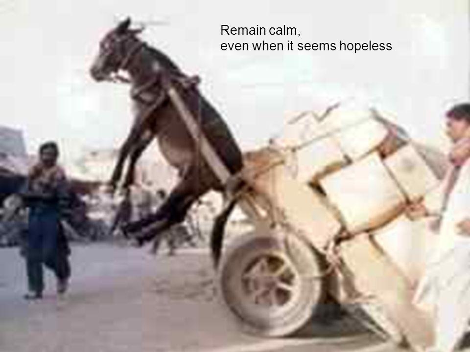 Remain calm, even when it seems hopeless