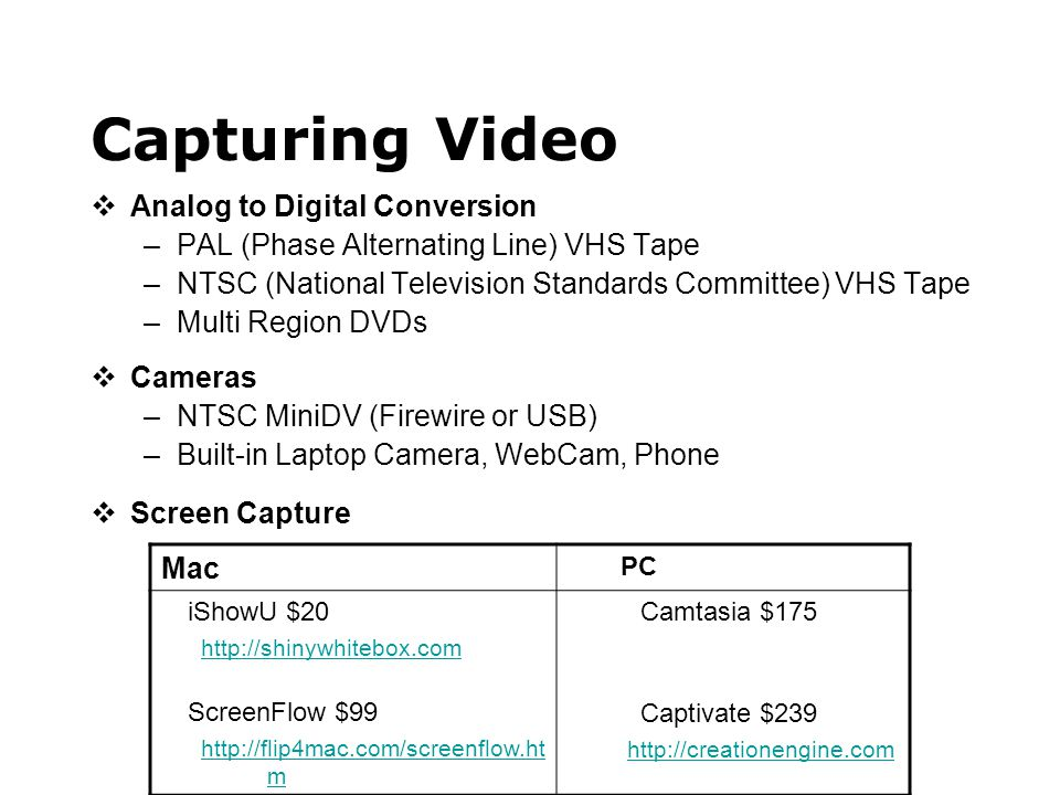 Capturing Video  Analog to Digital Conversion –PAL (Phase Alternating Line) VHS Tape –NTSC (National Television Standards Committee) VHS Tape –Multi Region DVDs  Cameras –NTSC MiniDV (Firewire or USB) –Built-in Laptop Camera, WebCam, Phone  Screen Capture Mac PC iShowU $20 http://shinywhitebox.com ScreenFlow $99 http://flip4mac.com/screenflow.ht m Camtasia $175 Captivate $239 http://creationengine.com