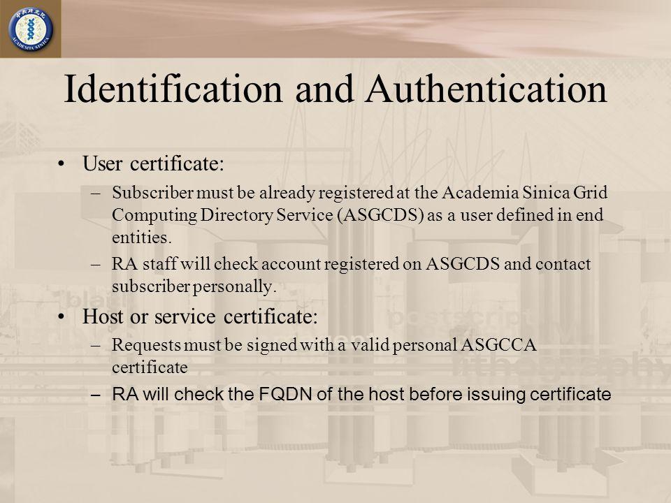 Certificate Request SubscriberRACA ASGCDS 1 2 7 4 3 5 6 1.Subscriber registers on ASGCDS 2.Subscriber requests certificate 3.RA checks the subscriber's identity on ASGCDS 4.RA contacts and confirms subscriber's identity personally 5.