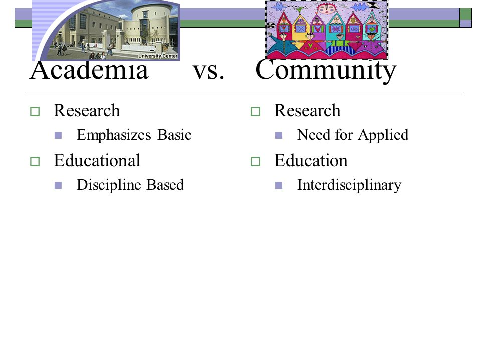 Academia vs. Community  Research Emphasizes Basic  Educational Discipline Based  Research Need for Applied  Education Interdisciplinary