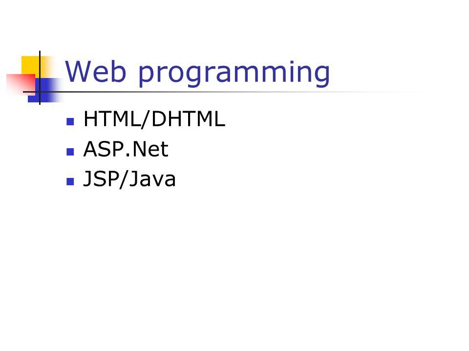 Web programming HTML/DHTML ASP.Net JSP/Java