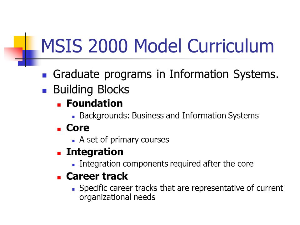 MSIS 2000 Model Curriculum Graduate programs in Information Systems.