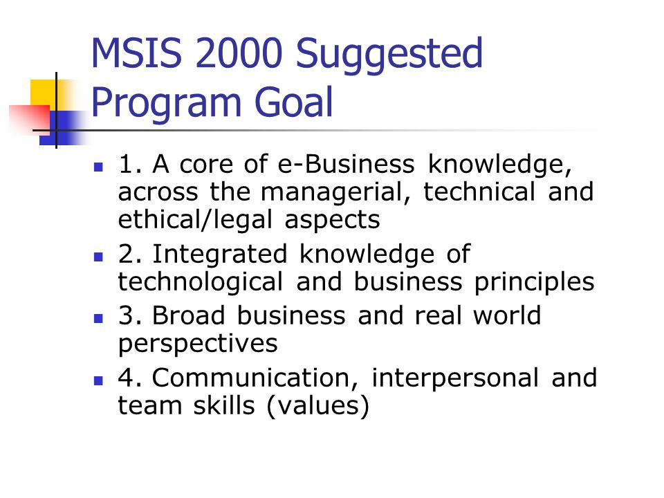 MSIS 2000 Suggested Program Goal 5.Analytical and critical thinking skills 6.