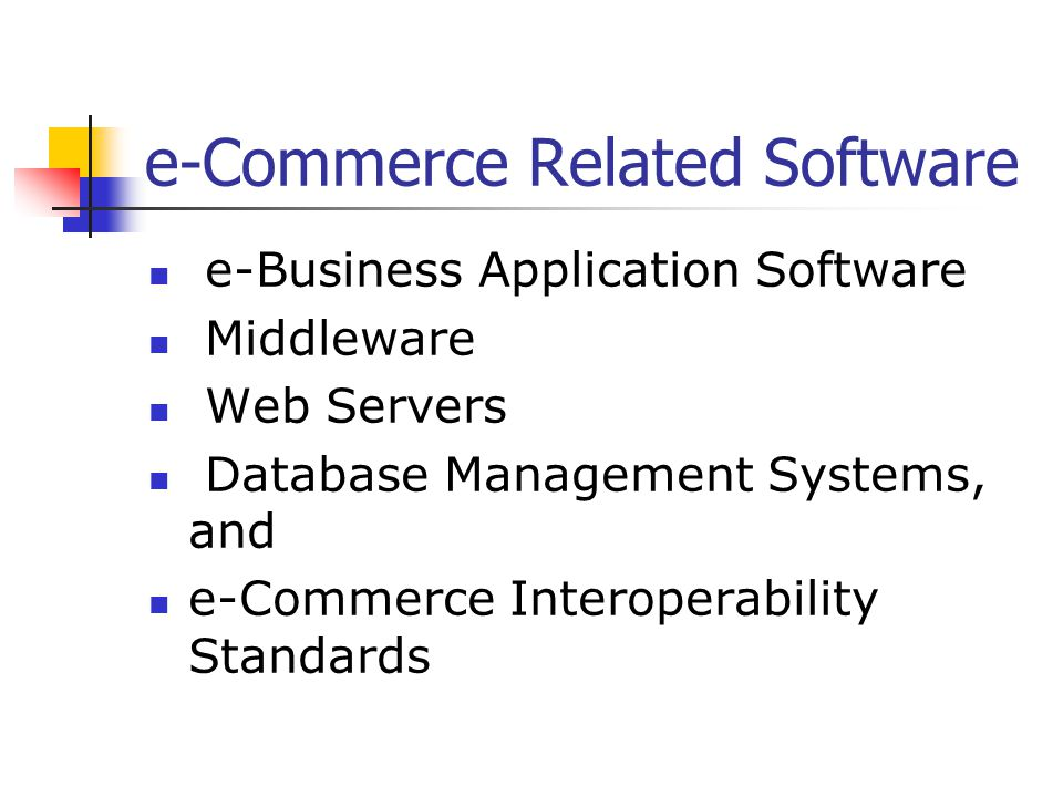 e-Commerce Related Software e-Business Application Software Middleware Web Servers Database Management Systems, and e-Commerce Interoperability Standards