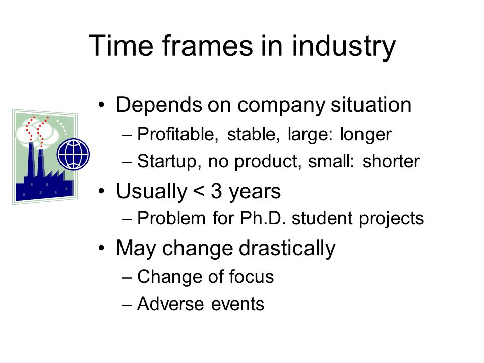 Time frames in industry Depends on company situation –Profitable, stable, large: longer –Startup, no product, small: shorter Usually < 3 years –Problem for Ph.D.