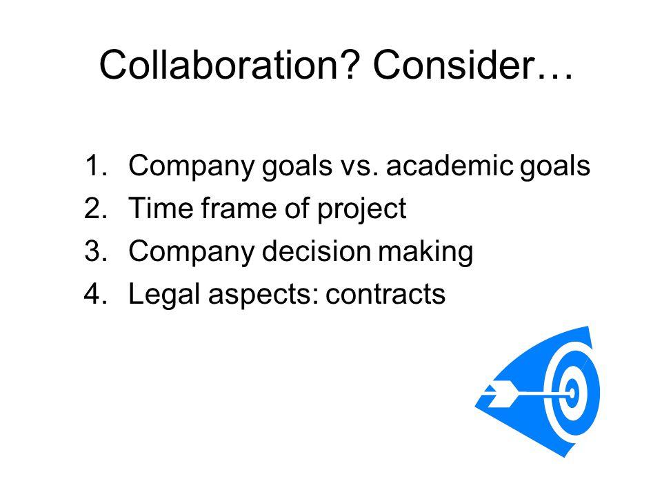 Collaboration. Consider… 1.Company goals vs.