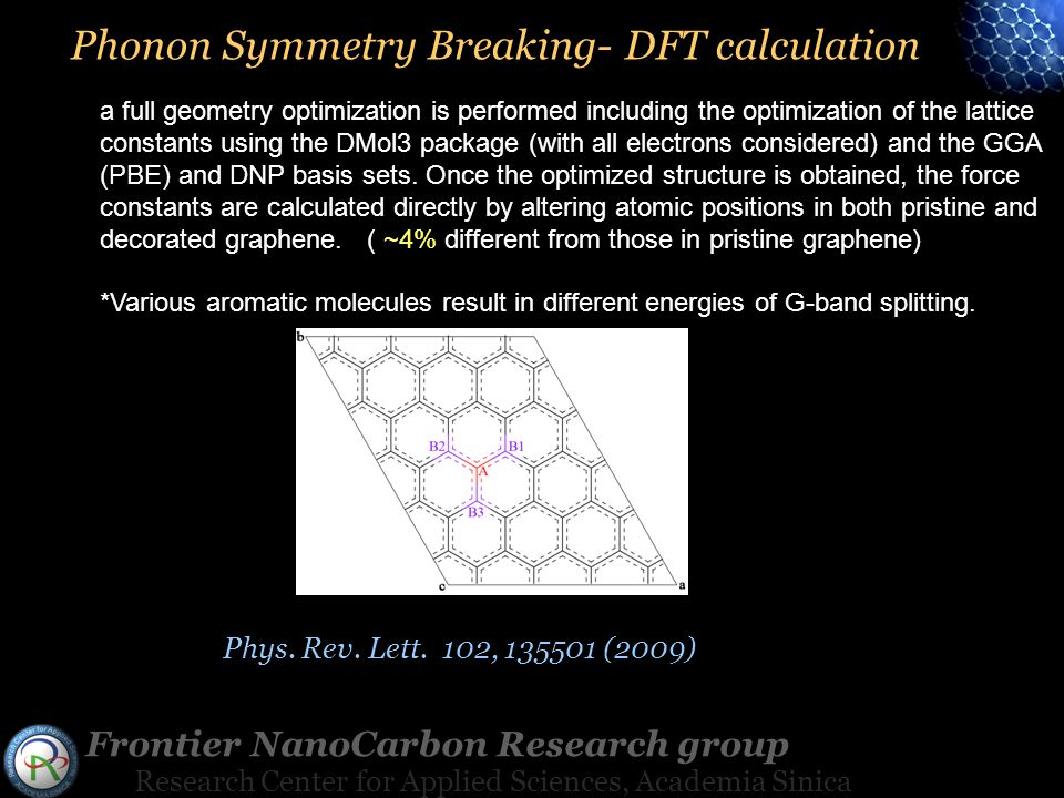 Frontier NanoCarbon Research group Research Center for Applied Sciences, Academia Sinica a full geometry optimization is performed including the optimization of the lattice constants using the DMol3 package (with all electrons considered) and the GGA (PBE) and DNP basis sets.
