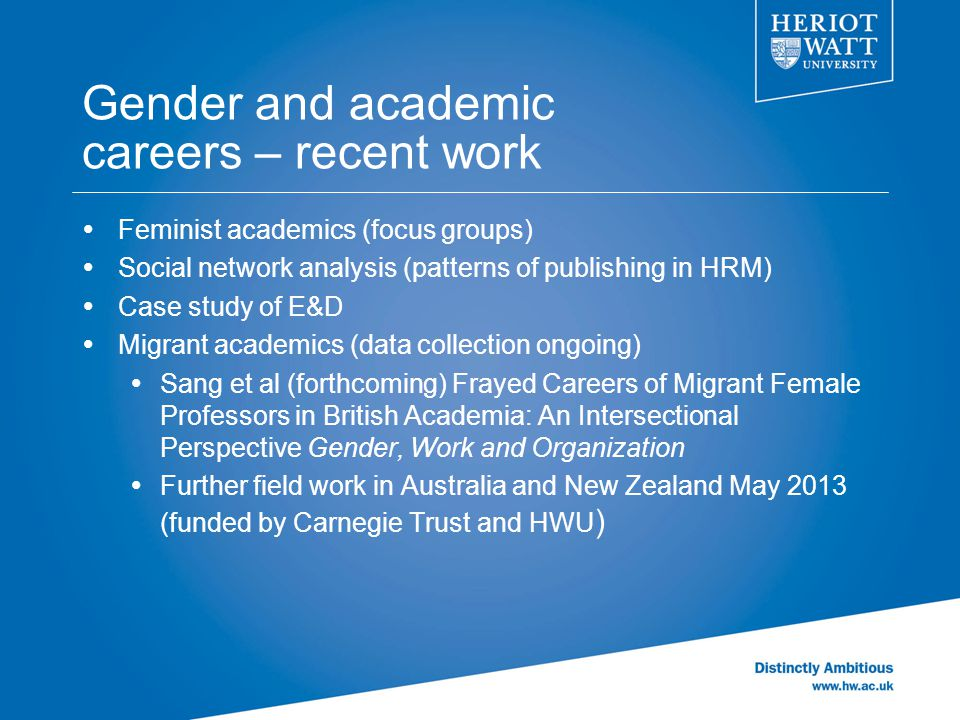 Gender and academic careers – recent work  Feminist academics (focus groups)  Social network analysis (patterns of publishing in HRM)  Case study o