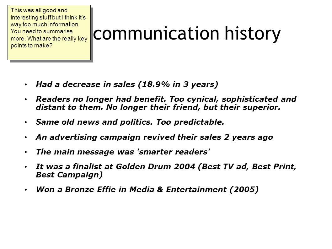 Brief communication history Had a decrease in sales (18.9% in 3 years) Readers no longer had benefit.