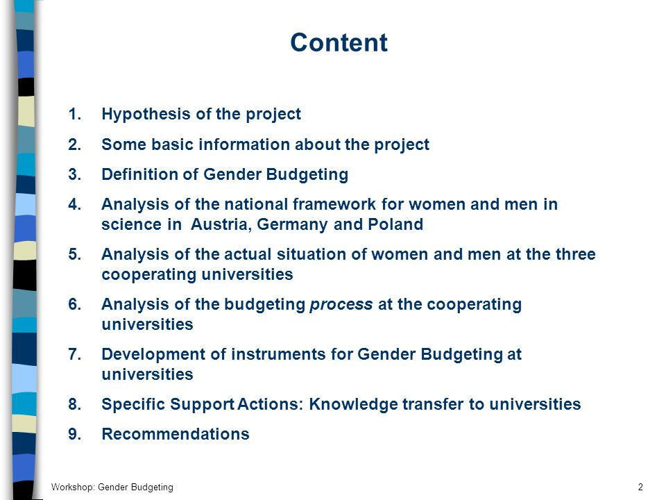 Workshop: Gender Budgeting2 Content 1.
