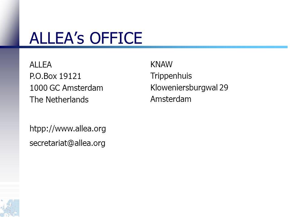 ALLEA's OFFICE ALLEA P.O.Box 19121 1000 GC Amsterdam The Netherlands htpp://www.allea.org secretariat@allea.org KNAW Trippenhuis Kloweniersburgwal 29