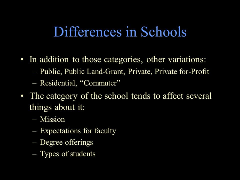 Differences in Schools In addition to those categories, other variations: –Public, Public Land-Grant, Private, Private for-Profit –Residential, Commuter The category of the school tends to affect several things about it: –Mission –Expectations for faculty –Degree offerings –Types of students