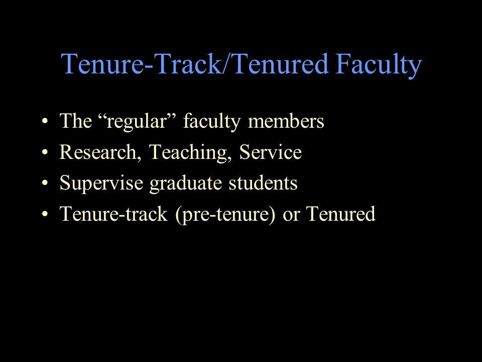 Tenure-Track/Tenured Faculty The regular faculty members Research, Teaching, Service Supervise graduate students Tenure-track (pre-tenure) or Tenured