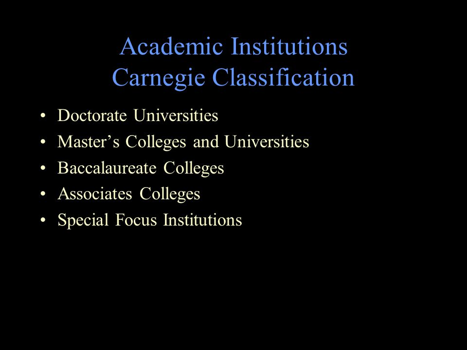 Academic Institutions Carnegie Classification Doctorate Universities Master's Colleges and Universities Baccalaureate Colleges Associates Colleges Special Focus Institutions