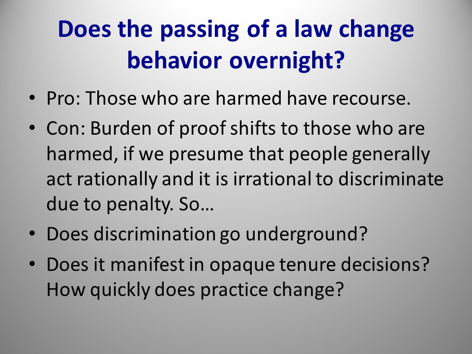 Does the passing of a law change behavior overnight.