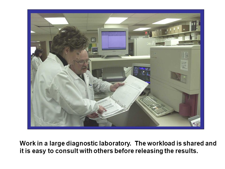 Work in a large diagnostic laboratory.