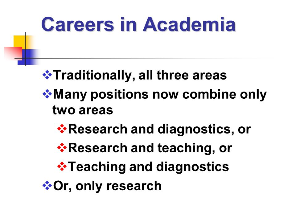 Careers in Academia  Traditionally, all three areas  Many positions now combine only two areas  Research and diagnostics, or  Research and teaching, or  Teaching and diagnostics  Or, only research