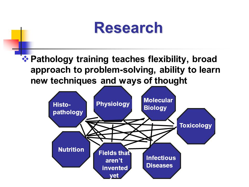 Research  Pathology training teaches flexibility, broad approach to problem-solving, ability to learn new techniques and ways of thought Molecular Biology Toxicology Histo- pathology Physiology Infectious Diseases Nutrition Fields that aren't invented yet