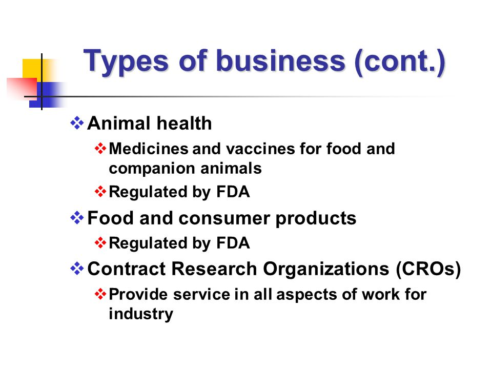 Types of business (cont.)  Animal health  Medicines and vaccines for food and companion animals  Regulated by FDA  Food and consumer products  Regulated by FDA  Contract Research Organizations (CROs)  Provide service in all aspects of work for industry
