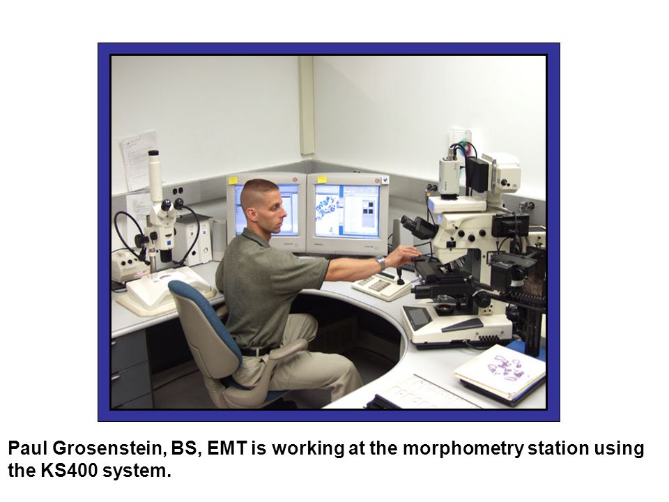 Paul Grosenstein, BS, EMT is working at the morphometry station using the KS400 system.