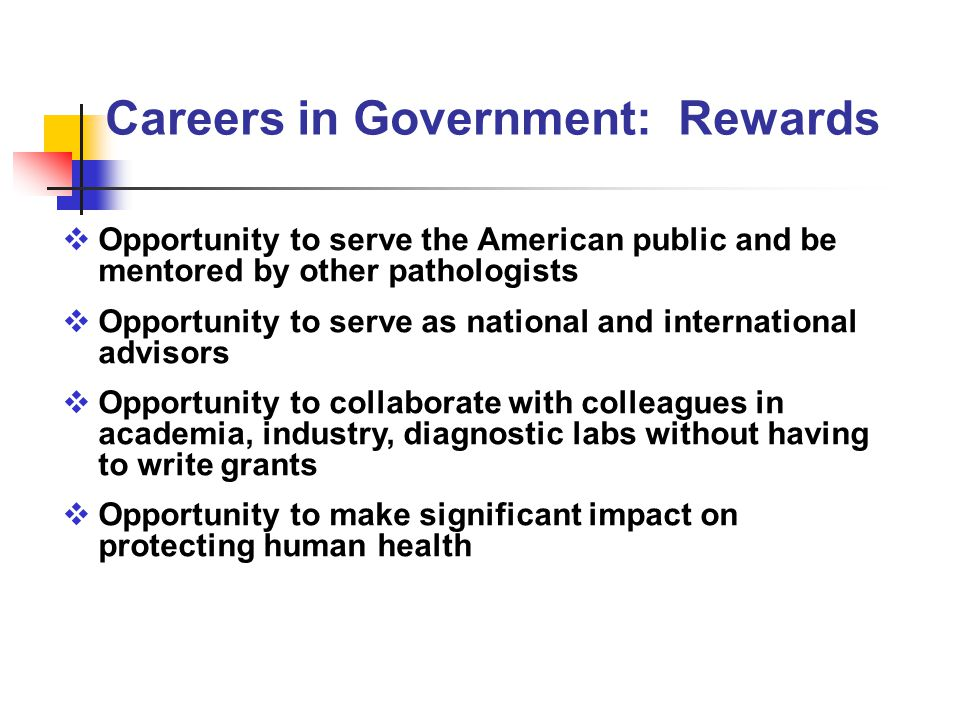  Opportunity to serve the American public and be mentored by other pathologists  Opportunity to serve as national and international advisors  Opportunity to collaborate with colleagues in academia, industry, diagnostic labs without having to write grants  Opportunity to make significant impact on protecting human health Careers in Government: Rewards
