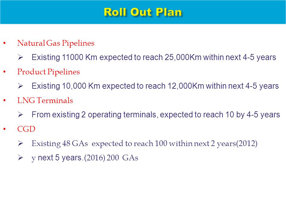 Natural Gas Pipelines  Existing 11000 Km expected to reach 25,000Km within next 4-5 years Product Pipelines  Existing 10,000 Km expected to reach 12,000Km within next 4-5 years LNG Terminals  From existing 2 operating terminals, expected to reach 10 by 4-5 years CGD  Existing 48 GAs expected to reach 100 within next 2 years(2012)  y next 5 years.( 2016) 200 GAs