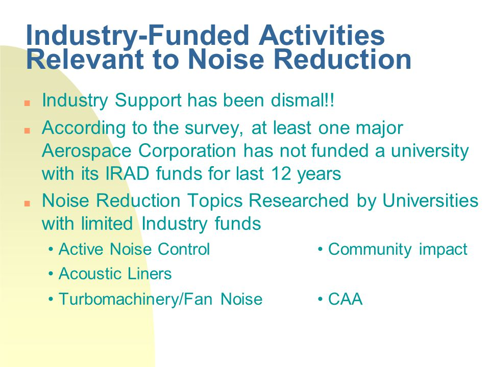 Projects Awarded to Universities During Last Five Years (Aircraft Noise)