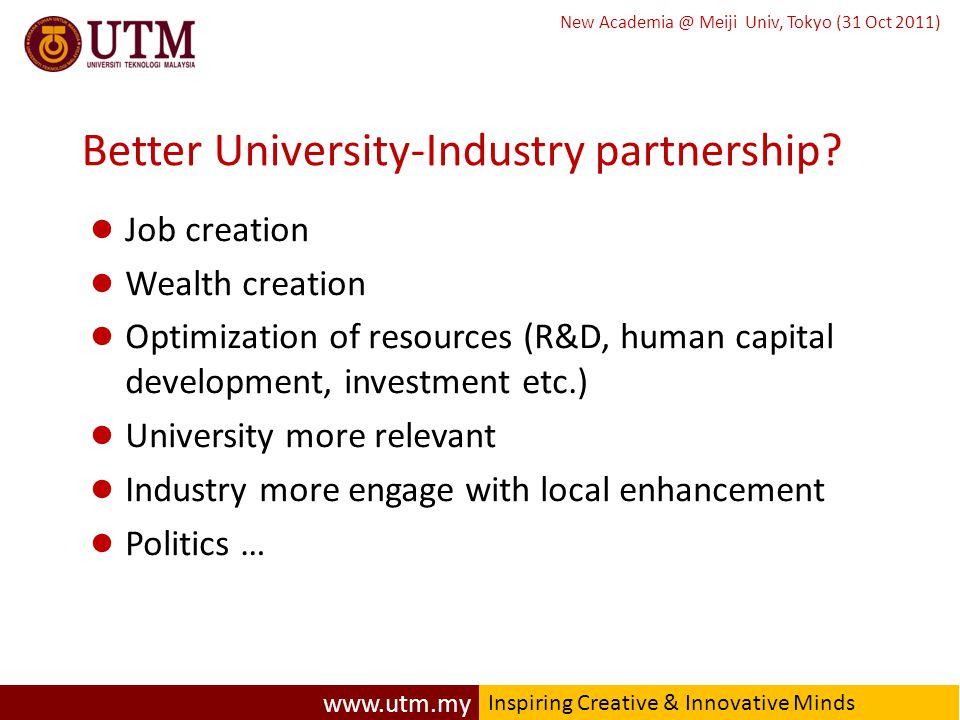 www.utm.my Inspiring Creative & Innovative Minds New Academia @ Meiji Univ, Tokyo (31 Oct 2011) Better University-Industry partnership.