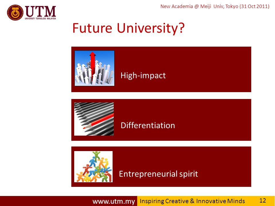 www.utm.my Inspiring Creative & Innovative Minds New Academia @ Meiji Univ, Tokyo (31 Oct 2011) Future University.