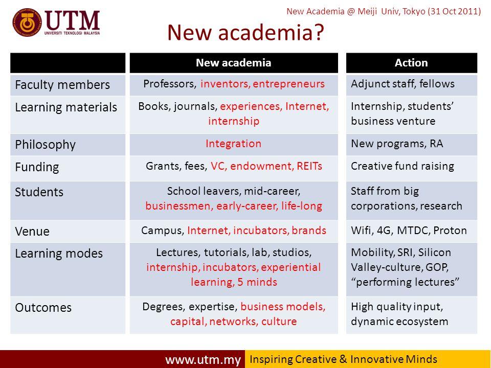 www.utm.my Inspiring Creative & Innovative Minds New Academia @ Meiji Univ, Tokyo (31 Oct 2011) New academia.