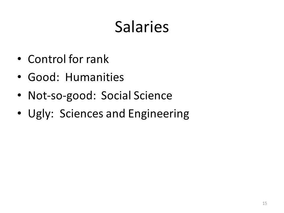 Salaries Control for rank Good: Humanities Not-so-good: Social Science Ugly: Sciences and Engineering 15