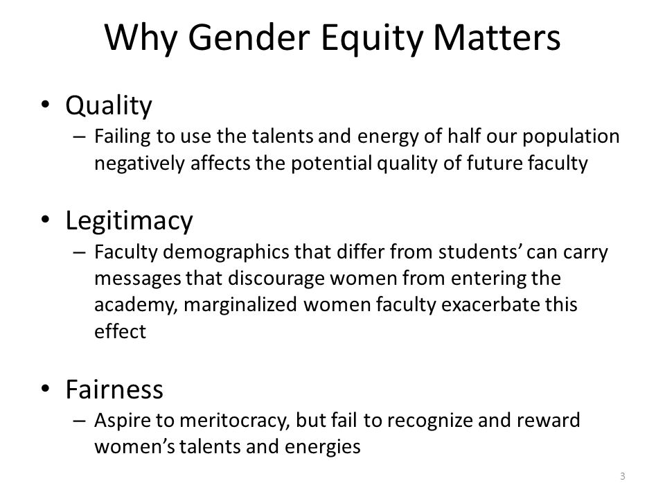 Why Gender Equity Matters Quality – Failing to use the talents and energy of half our population negatively affects the potential quality of future faculty Legitimacy – Faculty demographics that differ from students' can carry messages that discourage women from entering the academy, marginalized women faculty exacerbate this effect Fairness – Aspire to meritocracy, but fail to recognize and reward women's talents and energies 3