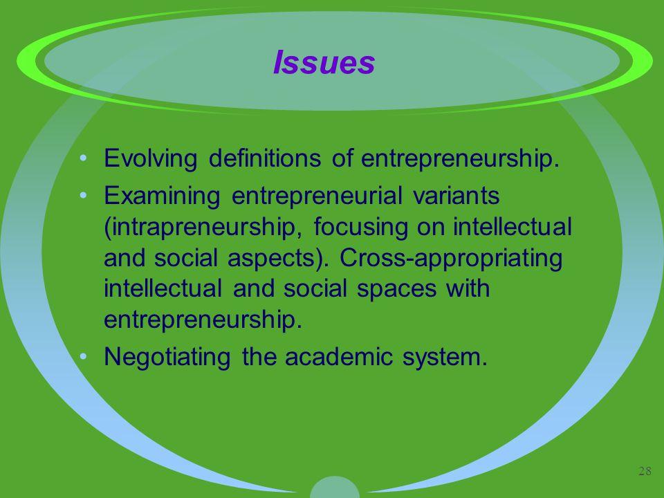 28 Issues Evolving definitions of entrepreneurship. Examining entrepreneurial variants (intrapreneurship, focusing on intellectual and social aspects)