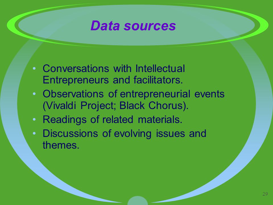 29 Data sources Conversations with Intellectual Entrepreneurs and facilitators.