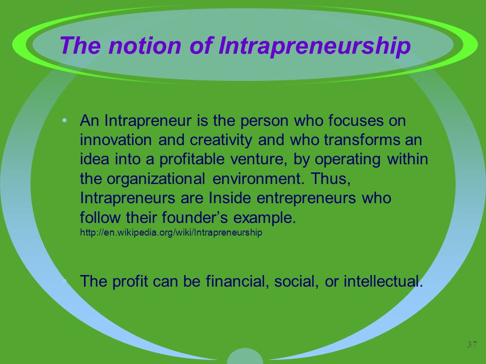37 The notion of Intrapreneurship An Intrapreneur is the person who focuses on innovation and creativity and who transforms an idea into a profitable venture, by operating within the organizational environment.