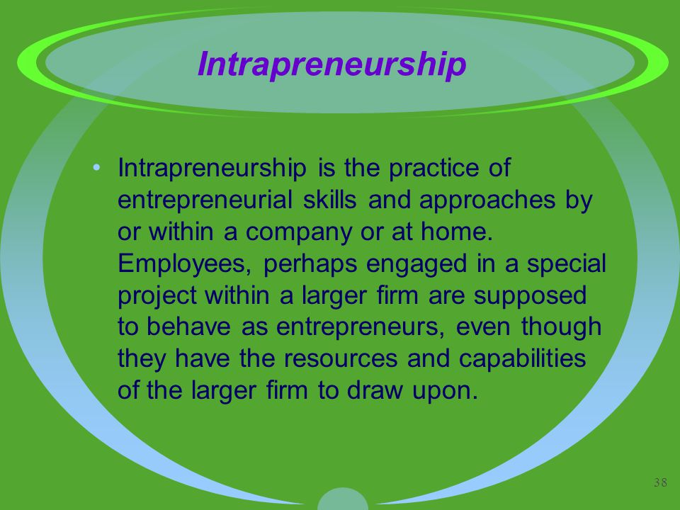 38 Intrapreneurship Intrapreneurship is the practice of entrepreneurial skills and approaches by or within a company or at home.