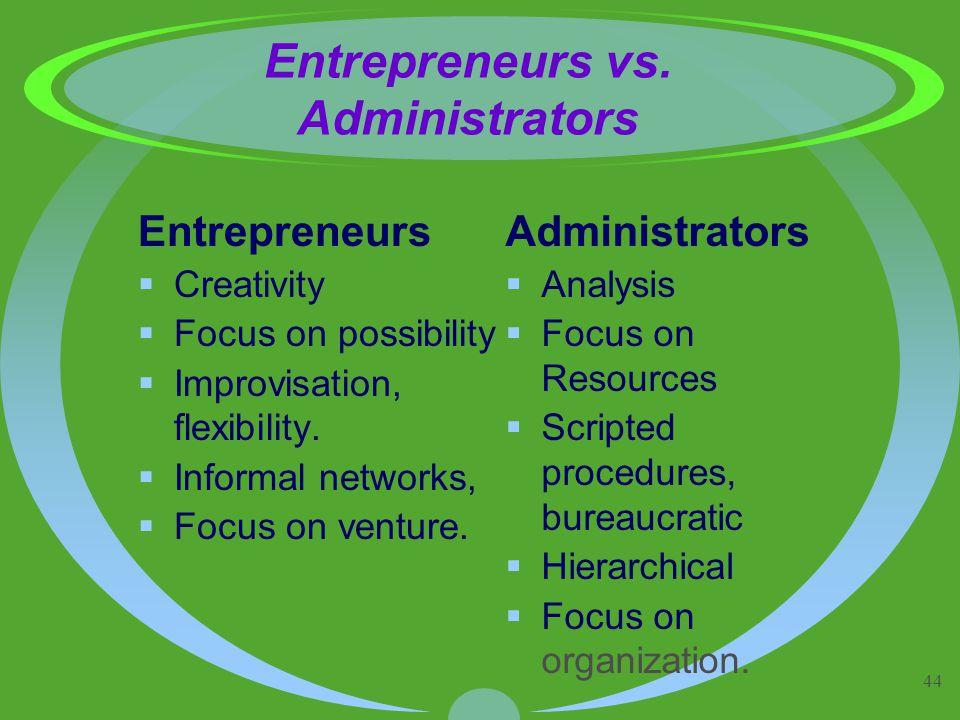 44 Entrepreneurs vs. Administrators Entrepreneurs  Creativity  Focus on possibility  Improvisation, flexibility.  Informal networks,  Focus on ve