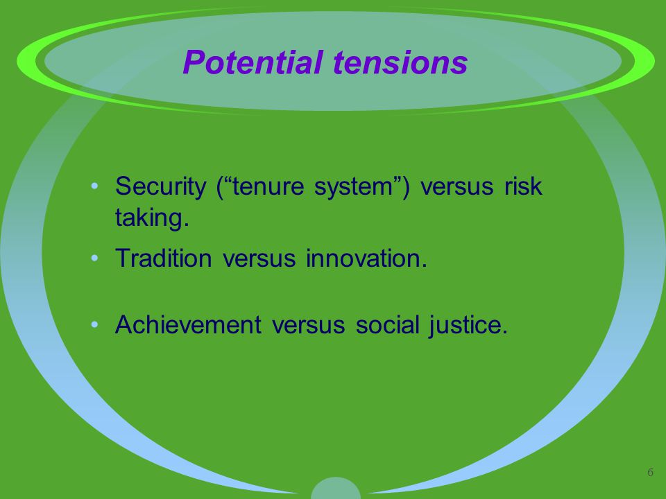 6 Potential tensions Security ( tenure system ) versus risk taking.