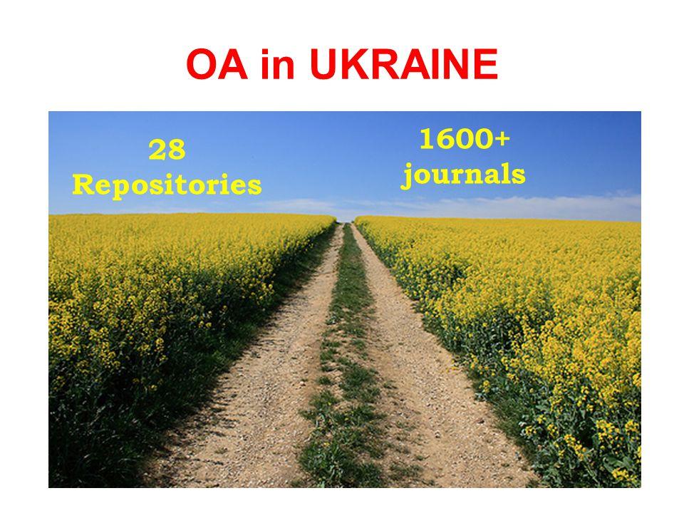 OA in UKRAINE 28 Repositories 1600+ journals