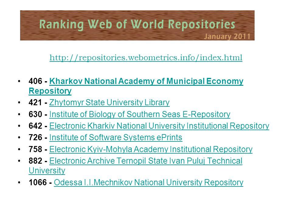 http://repositories.webometrics.info/index.html 406 - Kharkov National Academy of Municipal Economy RepositoryKharkov National Academy of Municipal Ec