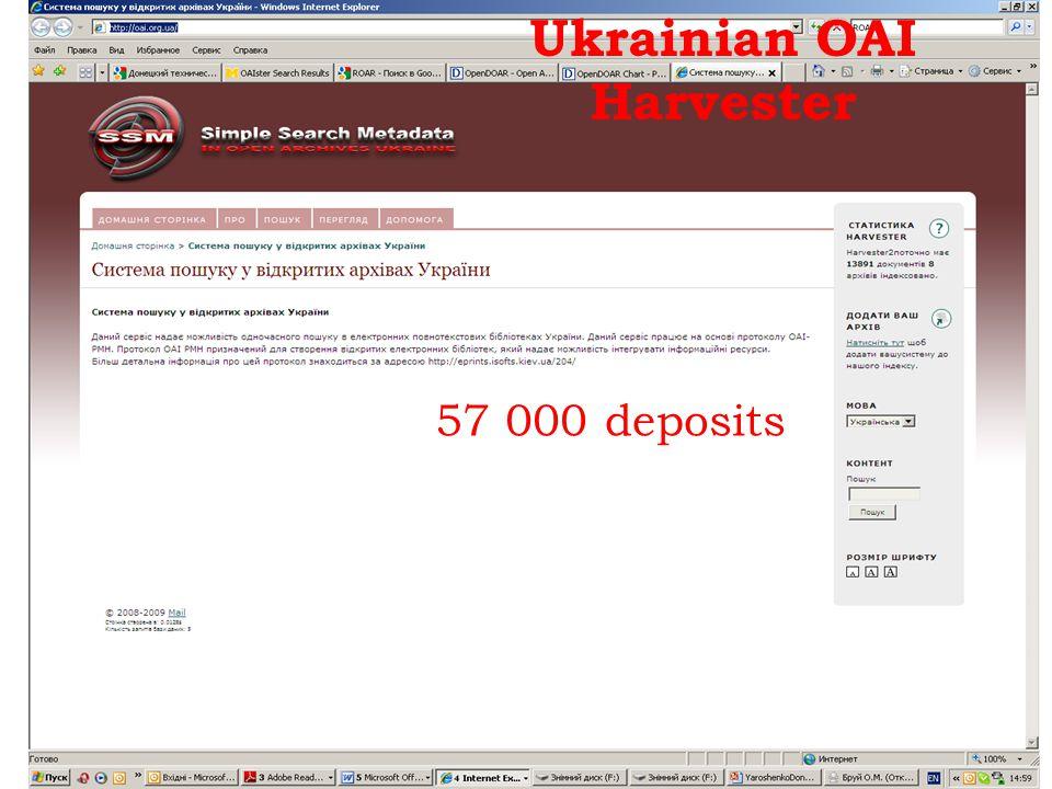 Ukrainian OAI Harvester 57 000 deposits