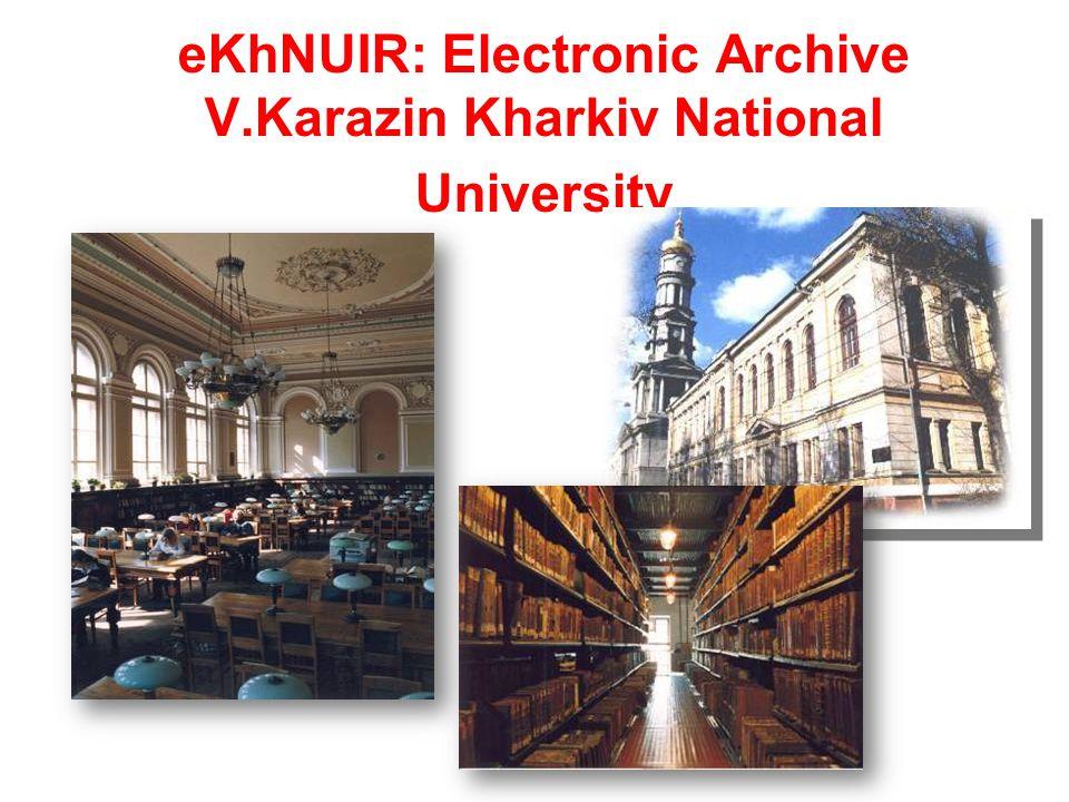 eKhNUIR: Electronic Archive V.Karazin Kharkiv National University